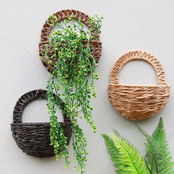 Handmade Wicker Wall Hanging Planter Basket Thirsty House Plants Wall Mounted Planters Flower Pots Hanging Wall Planters