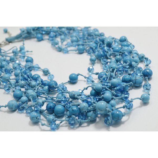 Turquoise Jewelry Statement Multi Strand Boho Necklace, Beaded Fashion... (£37) ❤ liked on Polyvore featuring jewelry, necklaces, anniversary necklace, beaded jewelry, beaded necklaces, turquoise necklaces and boho beaded necklace