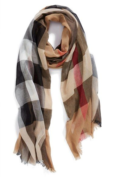 A sheer scarf becomes instantly iconic with Burberry s signature checks and  soft eyelash fringe. 9496372226c