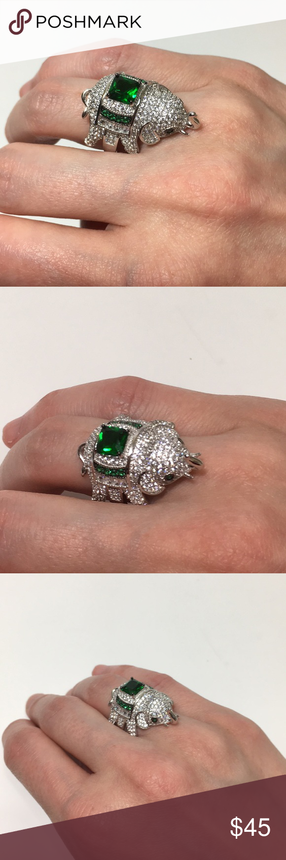 925 Sterling Silver Emerald Green CZ Ring Sz 7 NWT Price
