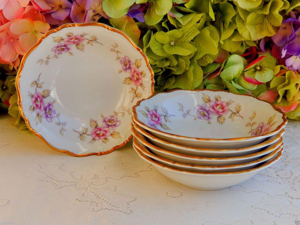 6 Vintage Edelstein German Porcelain Dessert Bowls Delphine Pink Lavender Gold #Edelstein & 6 Vintage Edelstein German Porcelain Dessert Bowls Delphine Pink ...