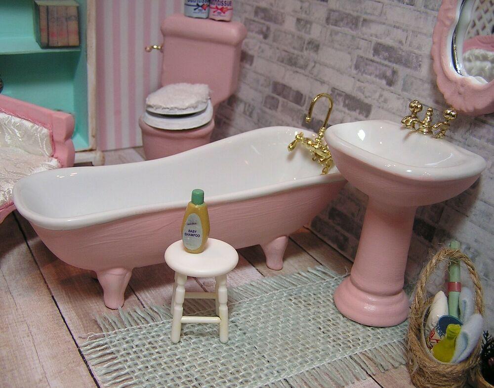 DOLL HOUSE MINIATURE BEAUTIFUL  PORCELAIN BATHROOM 3 PIECE SET