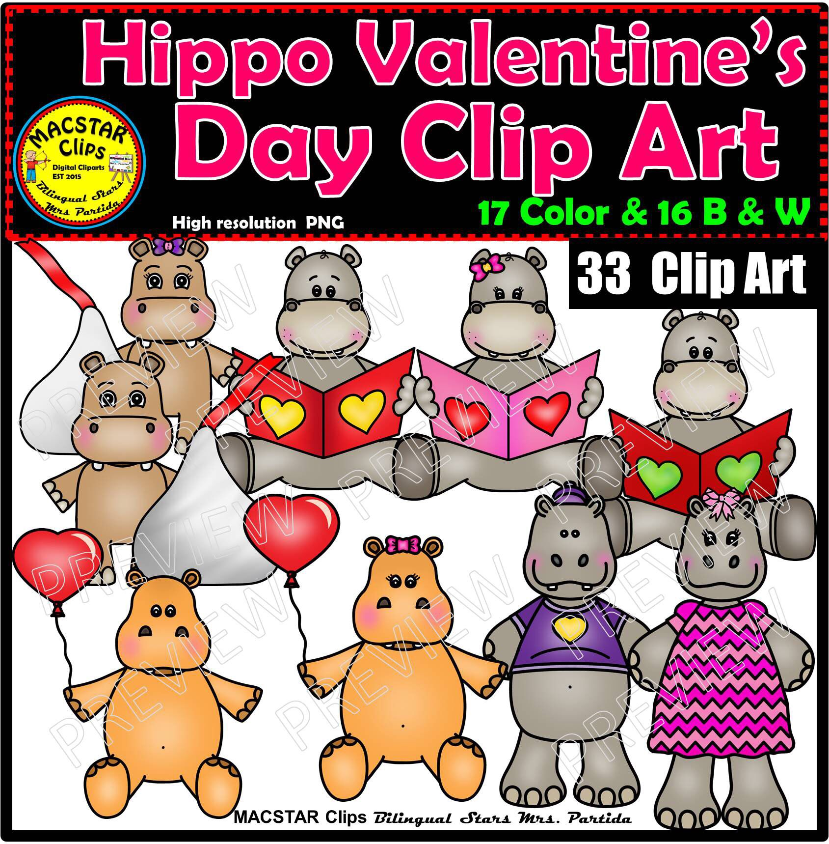 Hippo Valentine S Day Clip Art Clip Art Digital Image Art