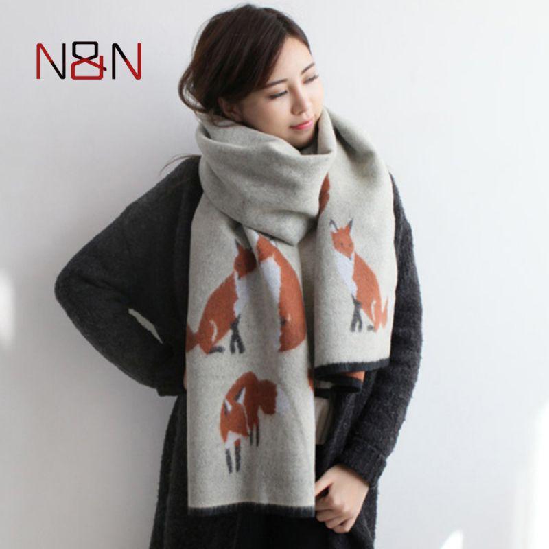 3800639b7a84 Pas cher Hiver Femmes Écharpe En Cachemire Designer Fox Imprimé Épaissir  Chaud Cape Long Châle Marque