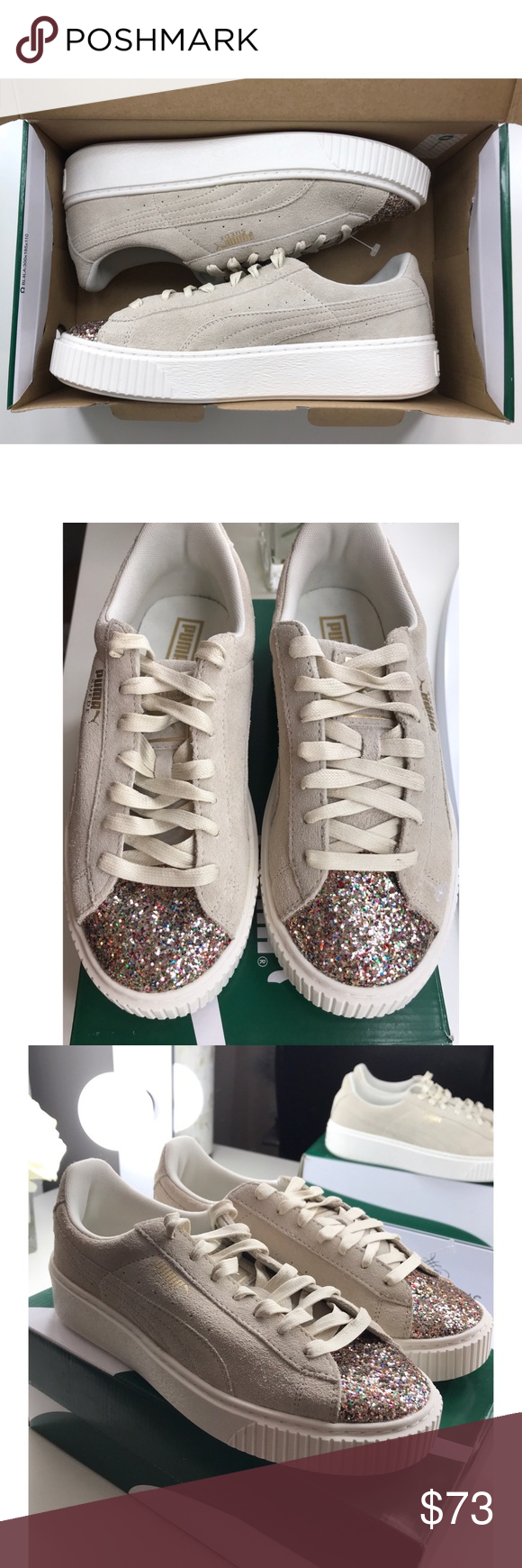 30baa6de0f60 NEW Puma Suede Platform Crushed Gem Sneakers New in box! Color  Marshmallow  Puma ‼