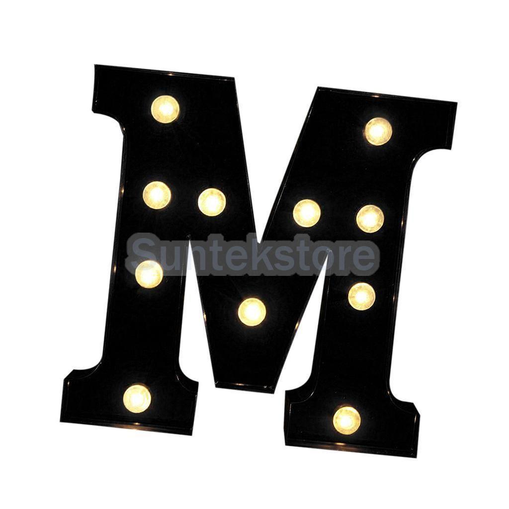 12inch Led Letter Lights Vintage Circus Style Alphabet Light Up Sign Black M