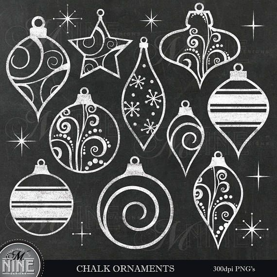 Chalk ORNAMENTS Clip Art / Chalkboard Christmas Clipart / Christmas Chalk Clipart Downloads, Chalk Scrapbook Holiday Clip Art