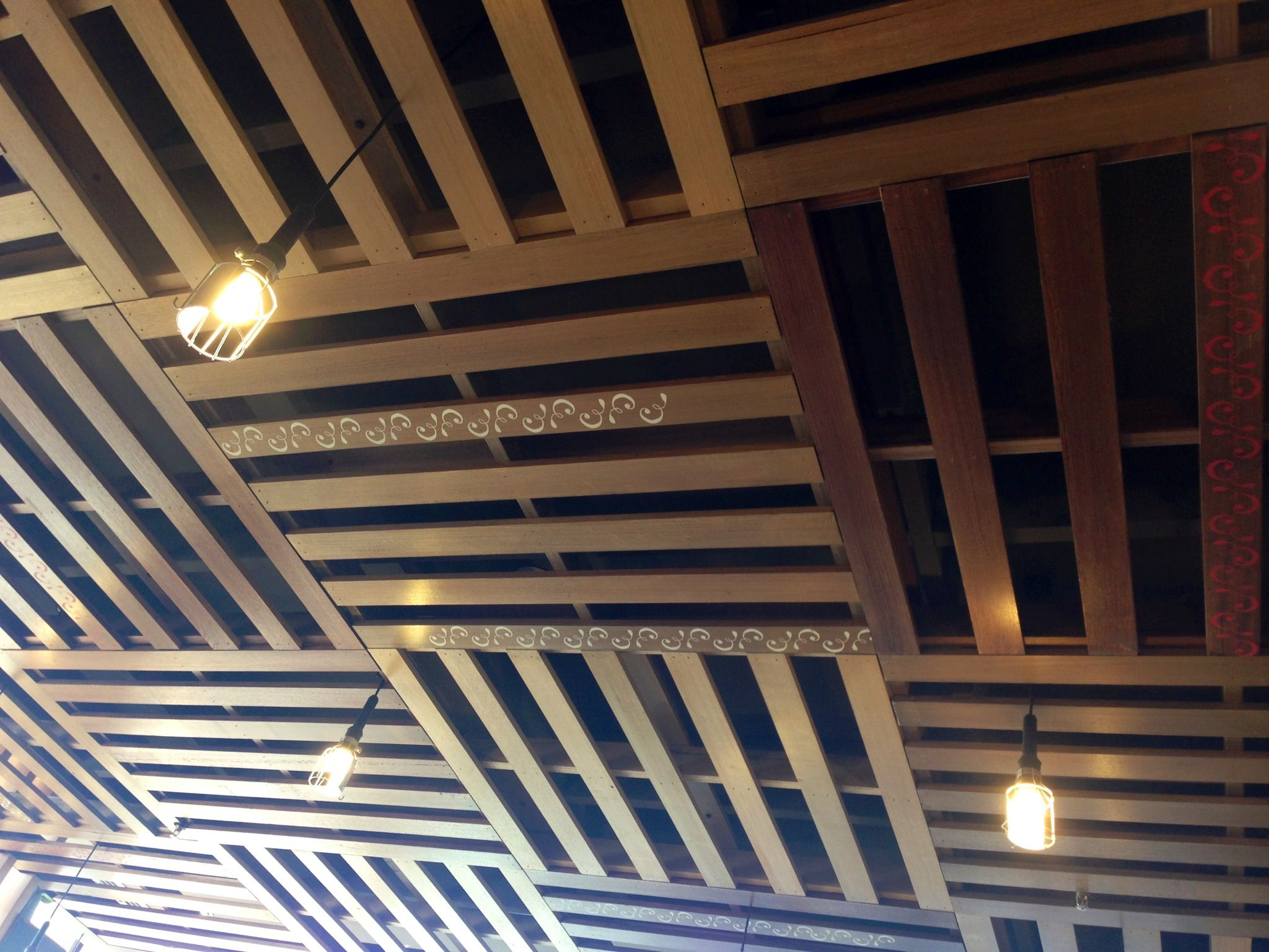 Ceiling Made From Pallets In 2019 Exposed Basement