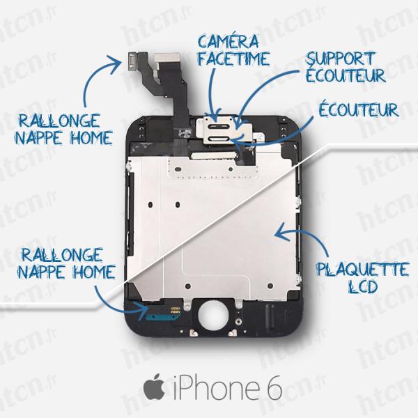 Ecran iPhone 6 noir complet pré-assemblé