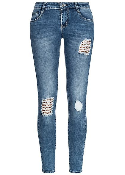 7fbf9147e9c4bd Hailys Damen Skinny Jeans Hose Destroy Leo Look 5-Pockets Regular Waist med  blau denim