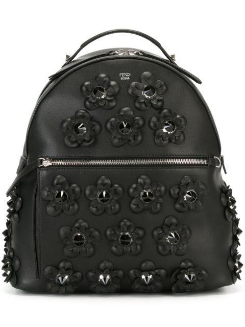 c65270c32438 FENDI Flower Appliqué Backpack.  fendi  bags  leather  pvc  nylon  backpacks