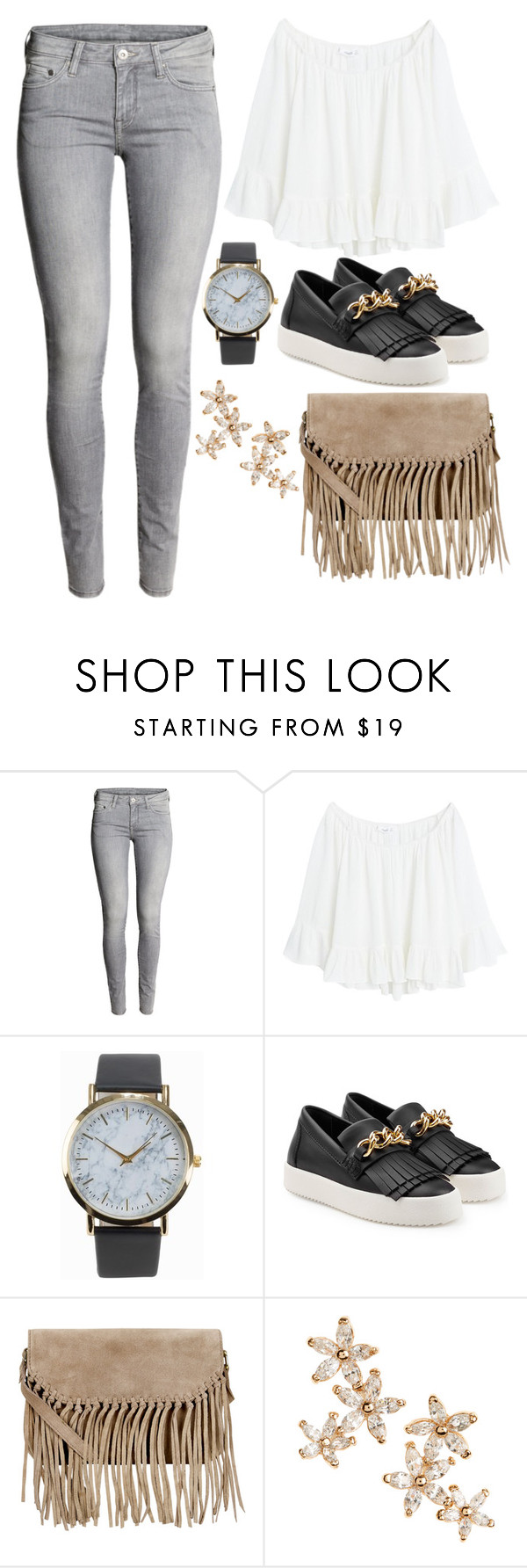 """""""Untitled #11366"""" by beatrizibelo ❤ liked on Polyvore featuring H&M, MANGO, NLY Accessories, Giuseppe Zanotti, Accessorize and Bonheur"""