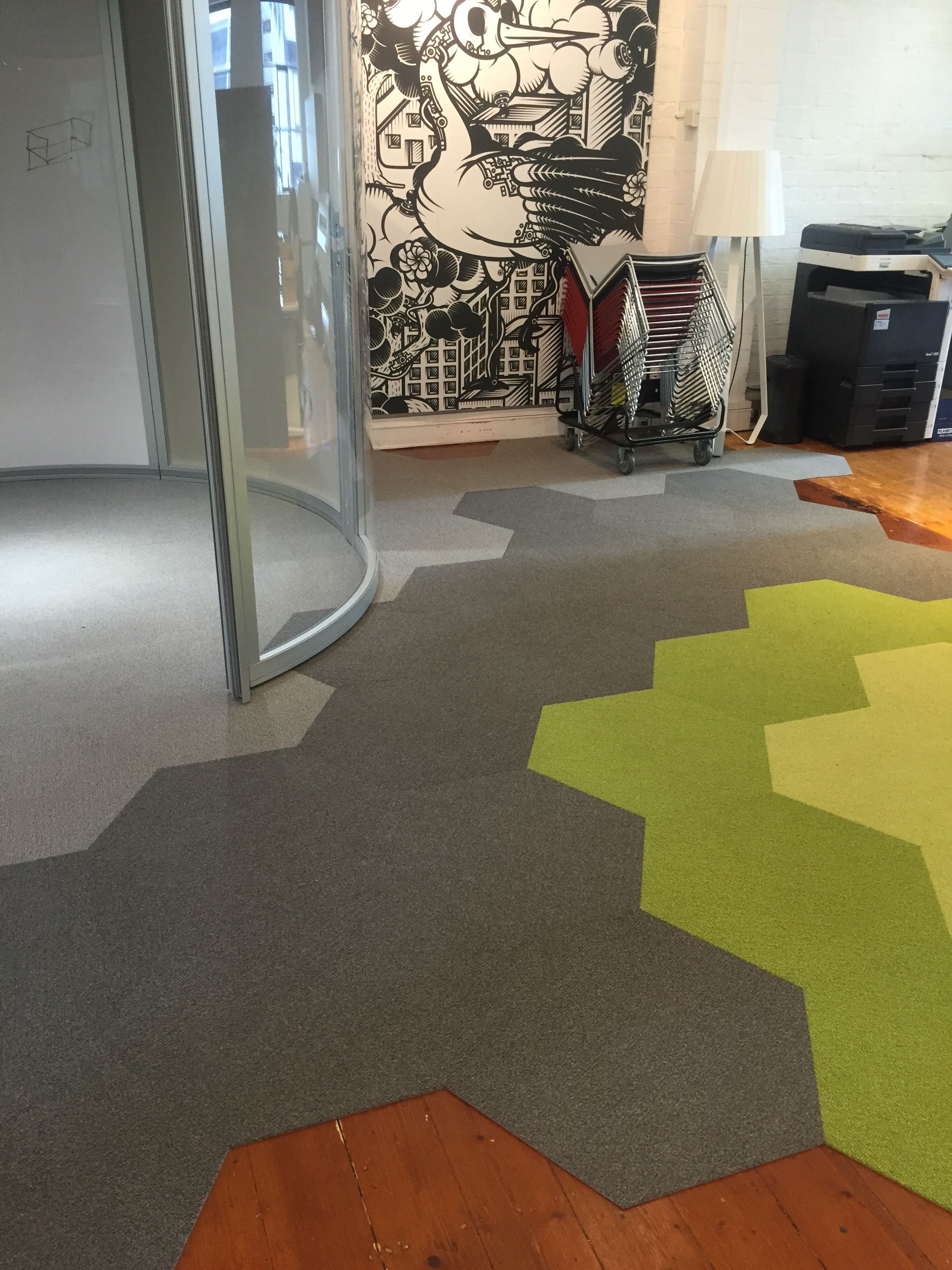 Harley color carpet tiles - A Burst Of Colour For This Fantastic Sunny Day Hexagon Commercialcarpettile Shawcontractgroup Shaw Hexagon Tiles Pinterest Shaw Contract