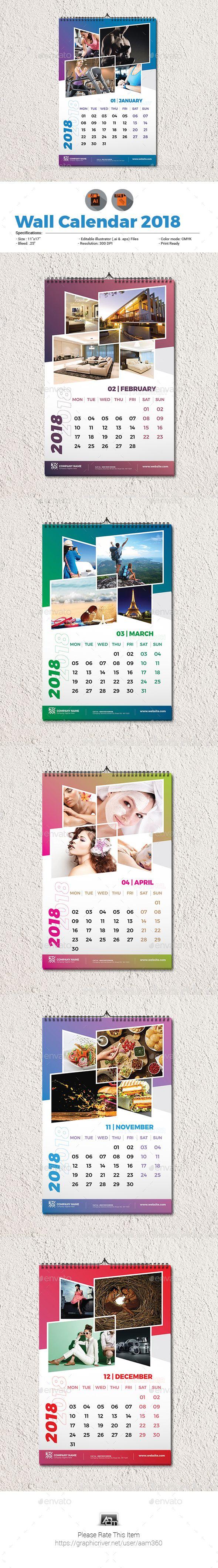 Wall calendar 2018 template calendar 2018 template and ai illustrator wall calendar 2018 template calendars stationery saigontimesfo