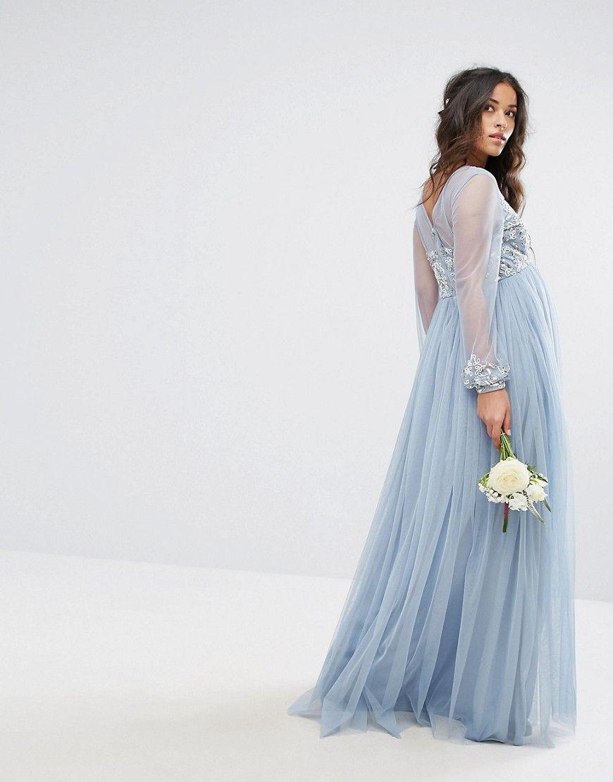 24e6cf669a Maya Maternity Embellished Bodice Maxi Dress With Sequin Blouson Cuffs