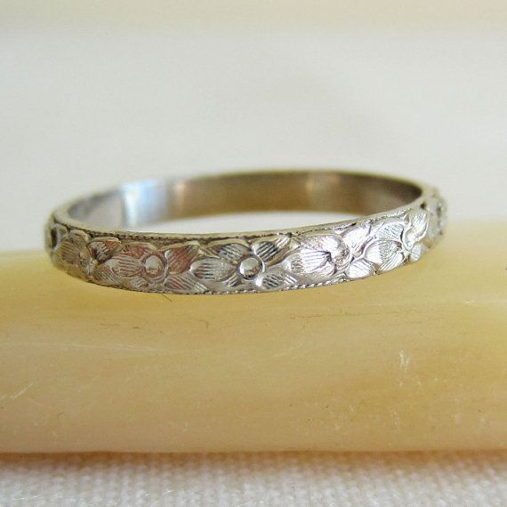 Antique Platinum Wedding Band Orange Blossom Pattern Circa Etsy Platinum Wedding Band Wedding Bands Jewelry Junkie