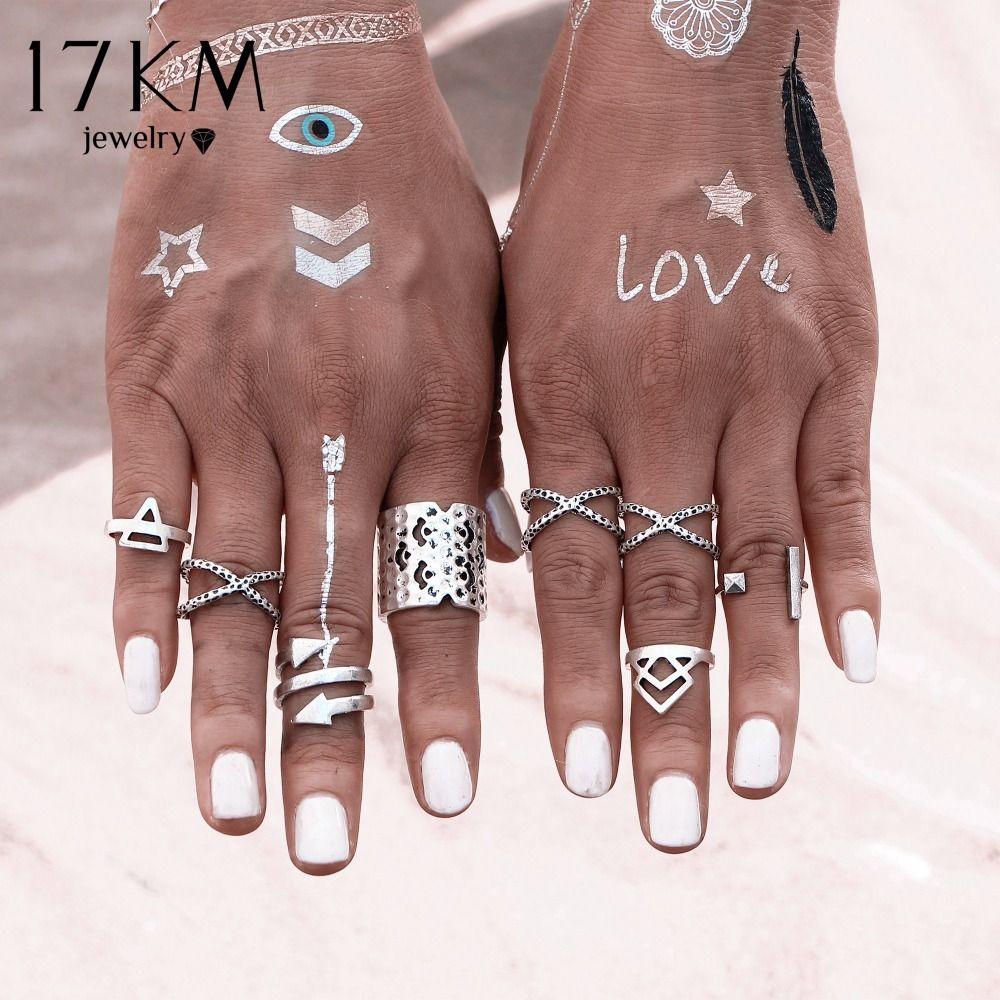 17 KM 8PCS \ SET Vintage Bohemian Stijl Vintage Anti Zilveren Kleur Ringen voor Vrouwen Tibetaanse Infinity Arrow Punk Boho ringen Set