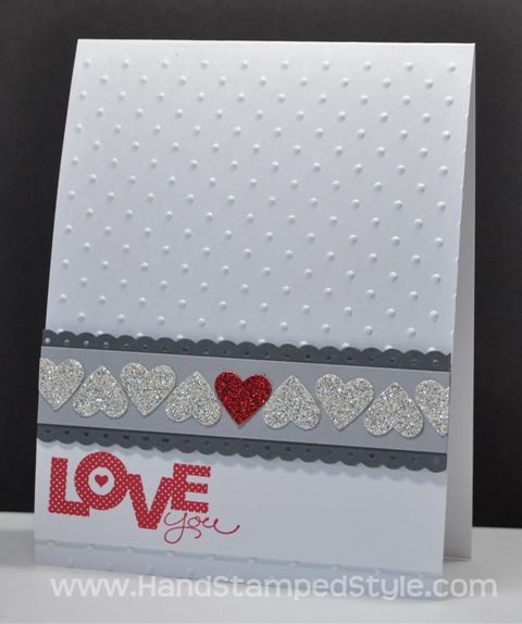 Create adorable and simple Valentines in the SIMPLE CARD CLASS with Erin for January. Have these shiny more traditional valentines to spread love