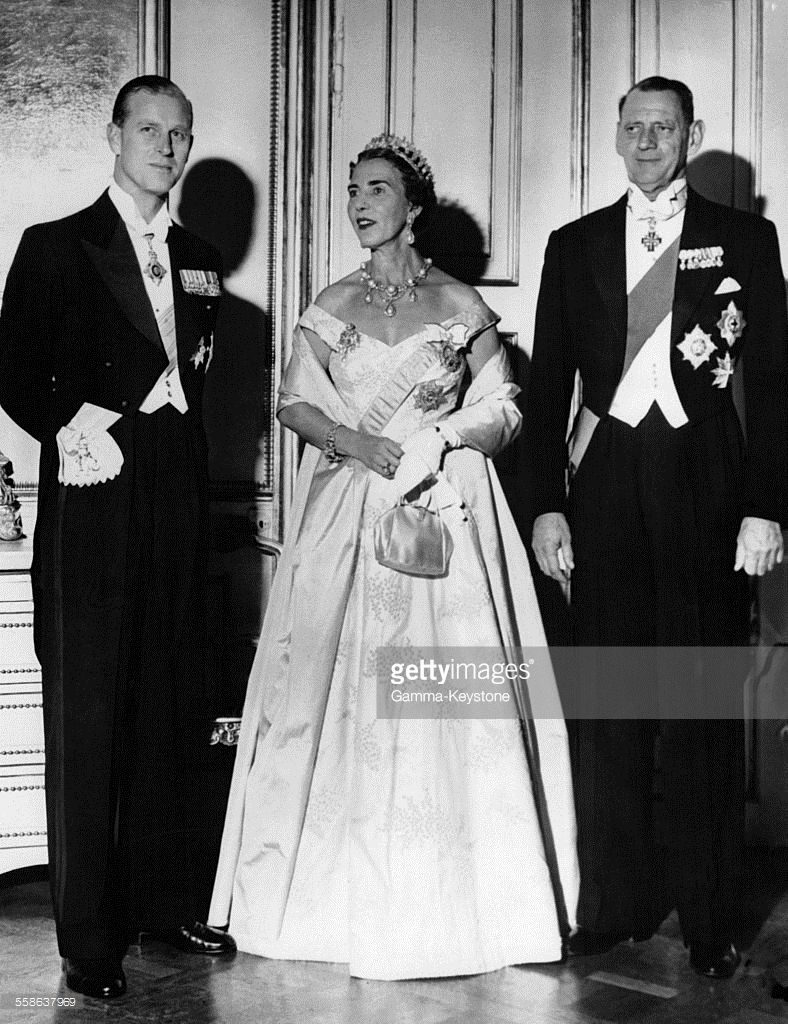 Queen Ingrid wore this tiara for a dinner during the Duke of Edinburgh's Visit on October 12, 1955.