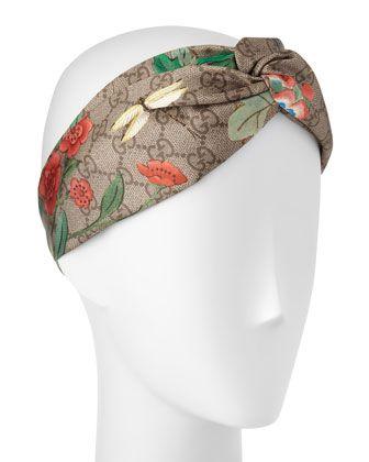b3d2305251c Tiana Floral Logo Silk Headband Light Brown in 2019