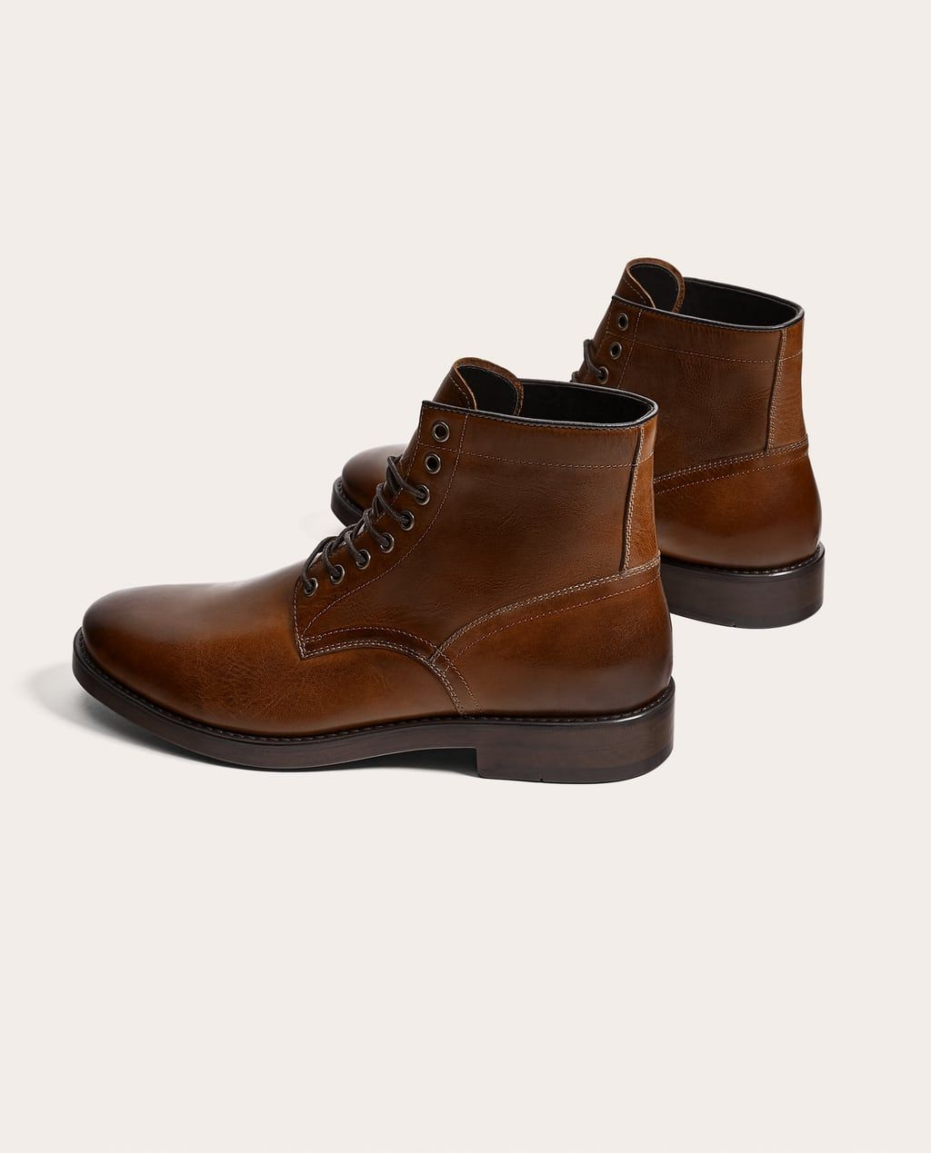 Image 1 of BROWN LEATHER LACE,UP BOOTS from Zara in 2019