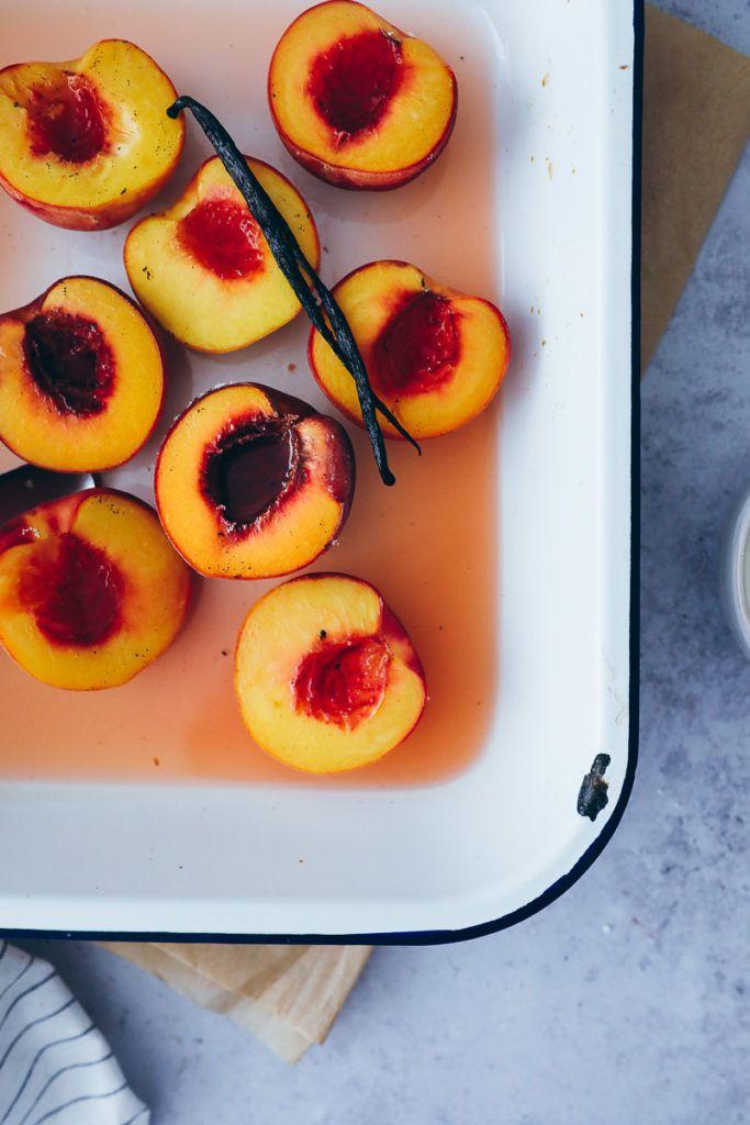 Gebackene Ofenpfirsiche - roasted vanilla peaches #einfachernachtisch