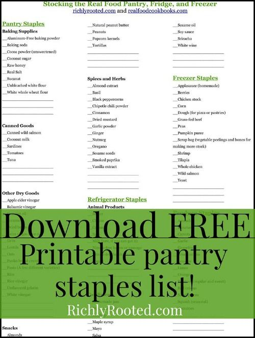 picture relating to Pantry Staples List Printable identified as Stocking the True Food stuff Pantry, Refrigerator, and Freezer (with