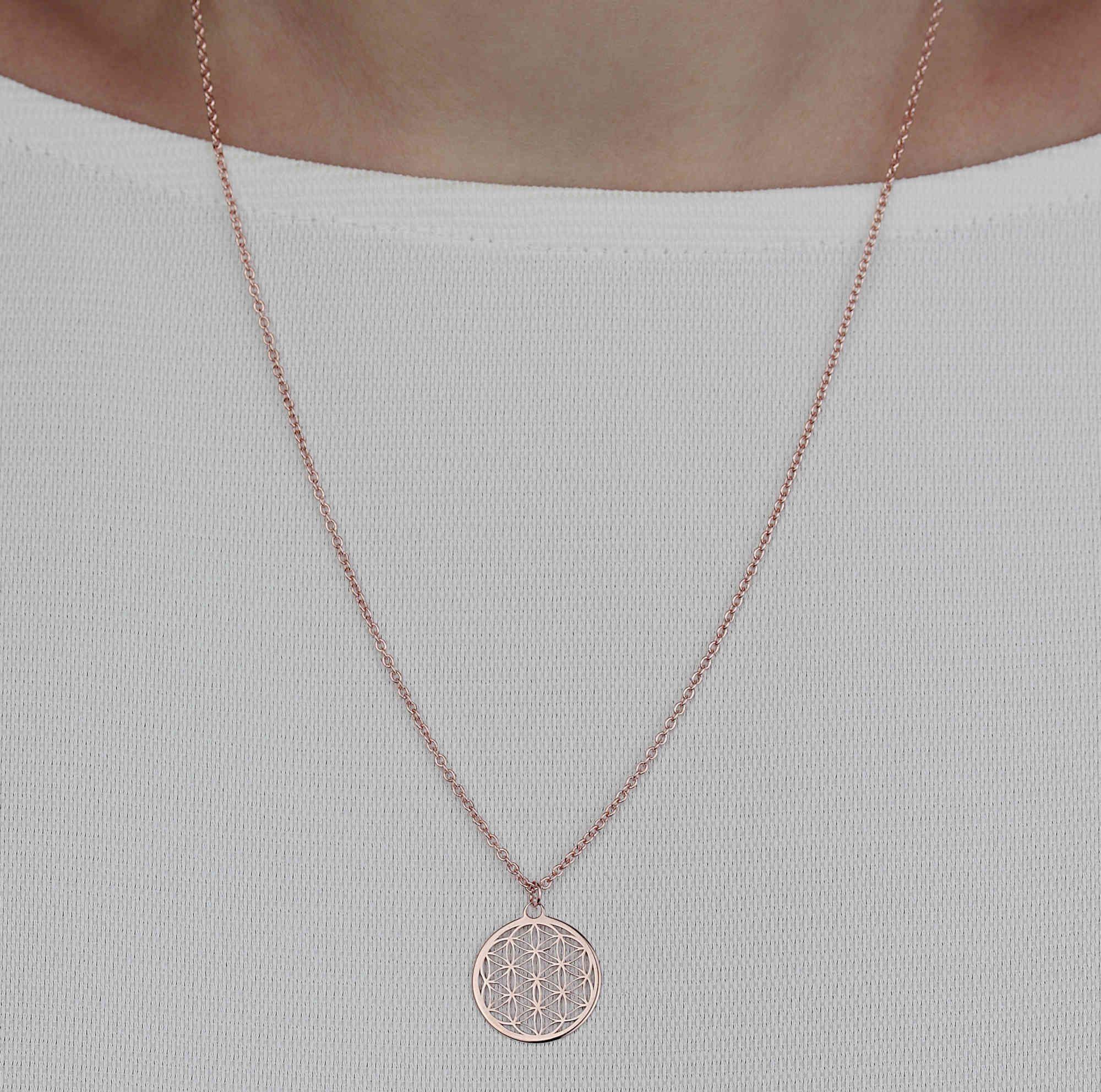 Halskette Mit Blume Des Lebens Anhanger 925 Silber Rosevergoldet O 15 Mm Kette Lebensblume Blume Des Lebens Anhanger Blume Des Lebens Lebensblume
