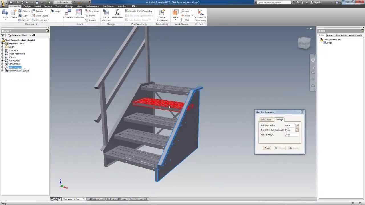 Autodesk Inventor Sheet Metal Stairway Configurator