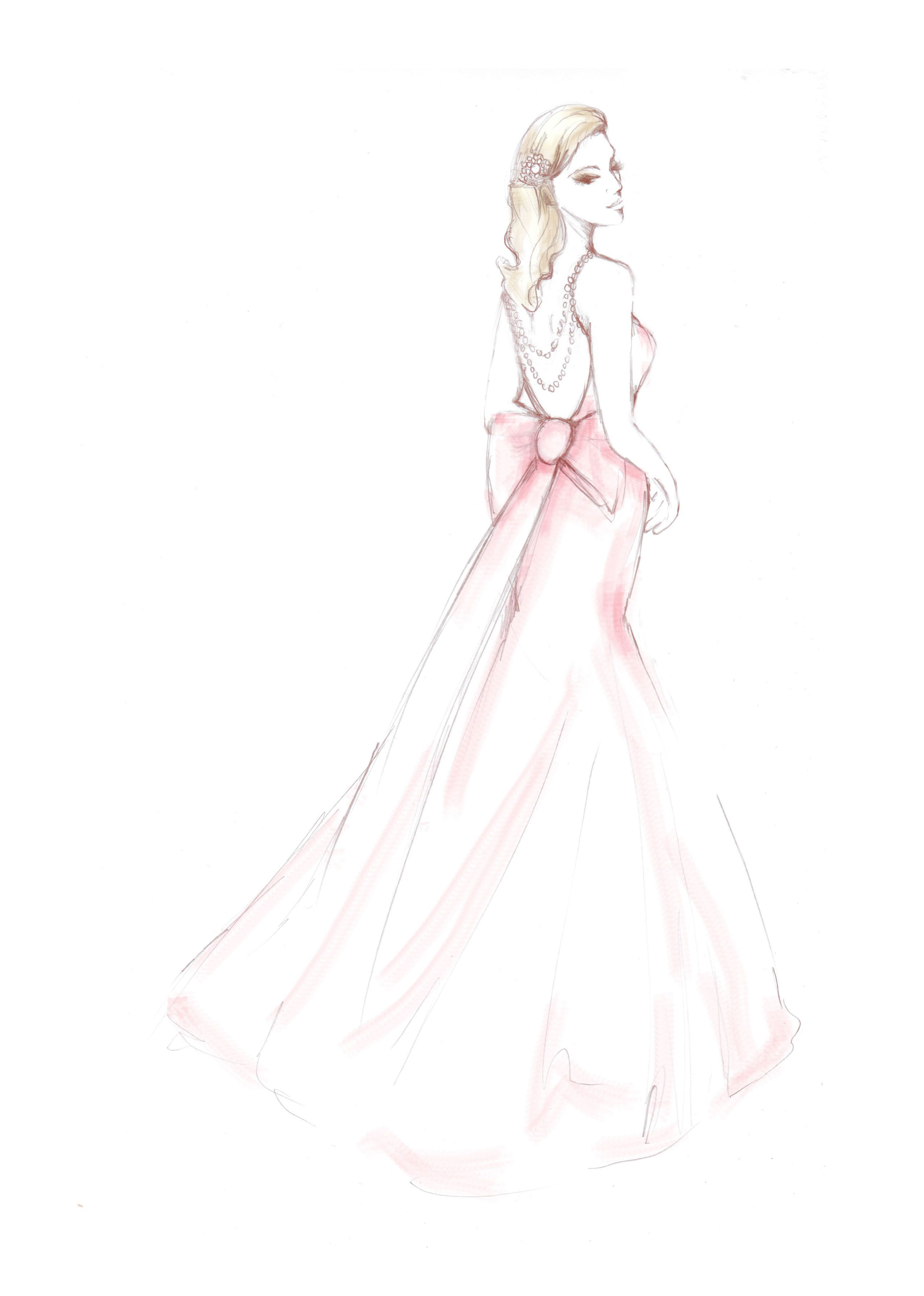 Wedding dress patterns free  Pretty in pink free printable illustration from Papercraft