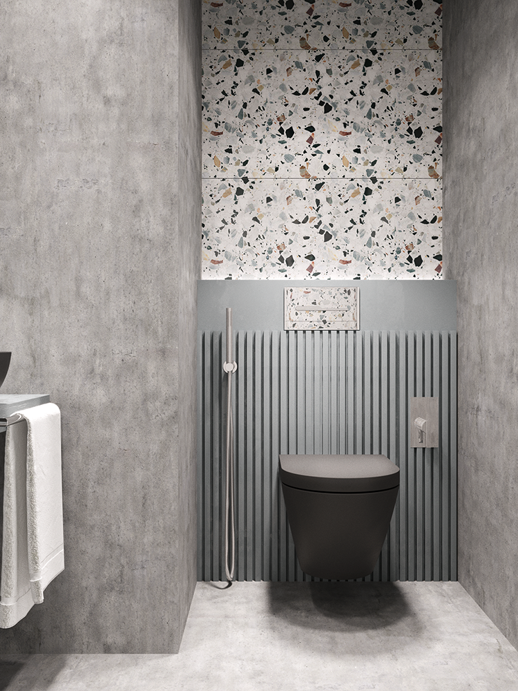 Bathroom tiling Impressive terrazzo and concrete bathroom