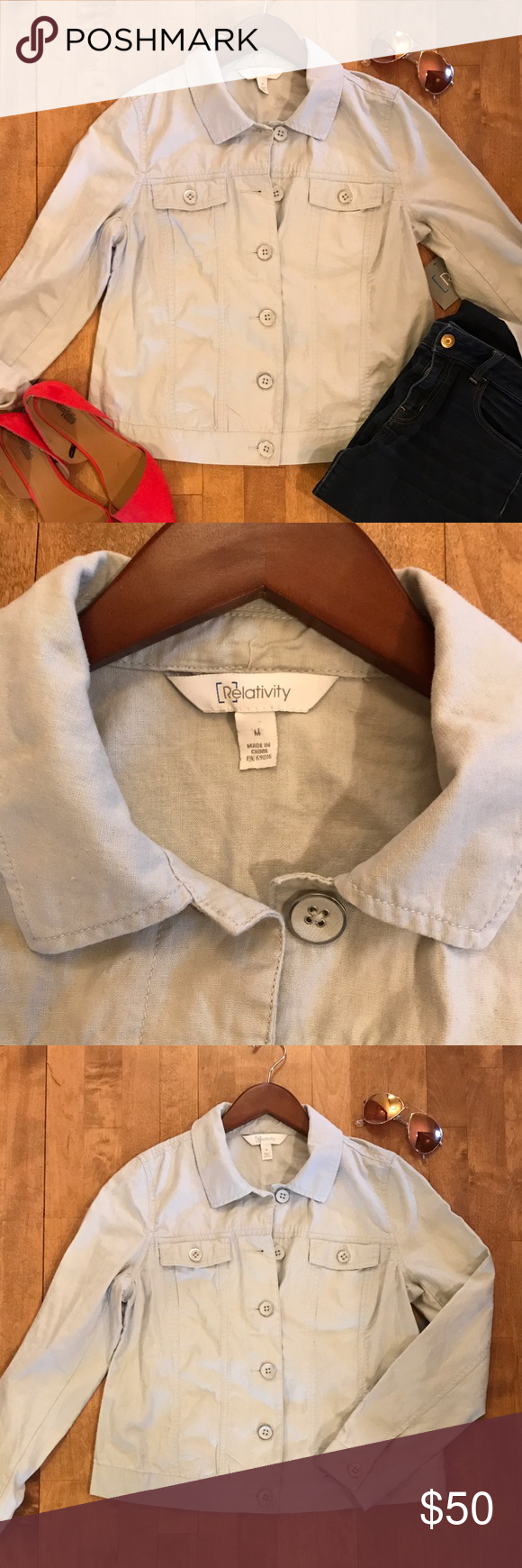 """Linen Jacket Size Medium Cute linen/cotton blend jacket. Lightweight, perfect summer staple. True to fit size medium. Color is """"Iceberg""""...I would describe it as a pale blue/grey. Super cute! No trades, thank you. Relativity Jackets & Coats"""