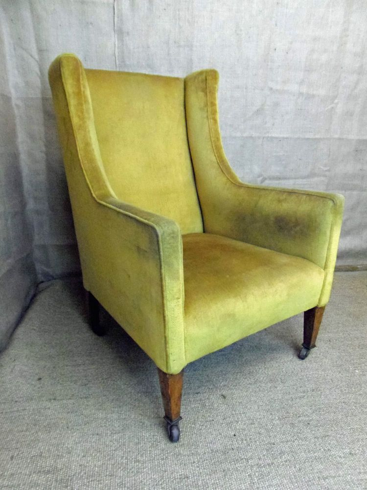 Edwardian Armchair, antique fireside chair, gold upholstery, great shape &  cond - Edwardian Armchair, Antique Fireside Chair, Gold Upholstery, Great