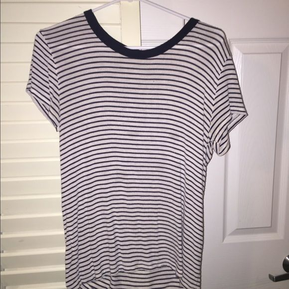 BRANDY MELVILLE Striped T-shirt! A black and white striped Brandy Melville short sleeve T-shirt! Brandy Melville Tops Tees - Short Sleeve
