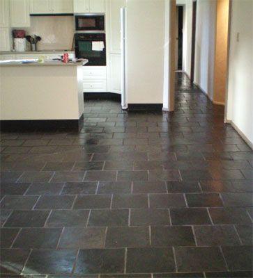 Slate Kitchen Floor Maison Sol Gris Et Decoration