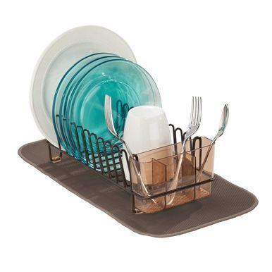 mDesign Compact Kitchen Sink Dish Rack and Mini Drying Mat Combo, Bronze/Mocha, Set of 2 #dishracks