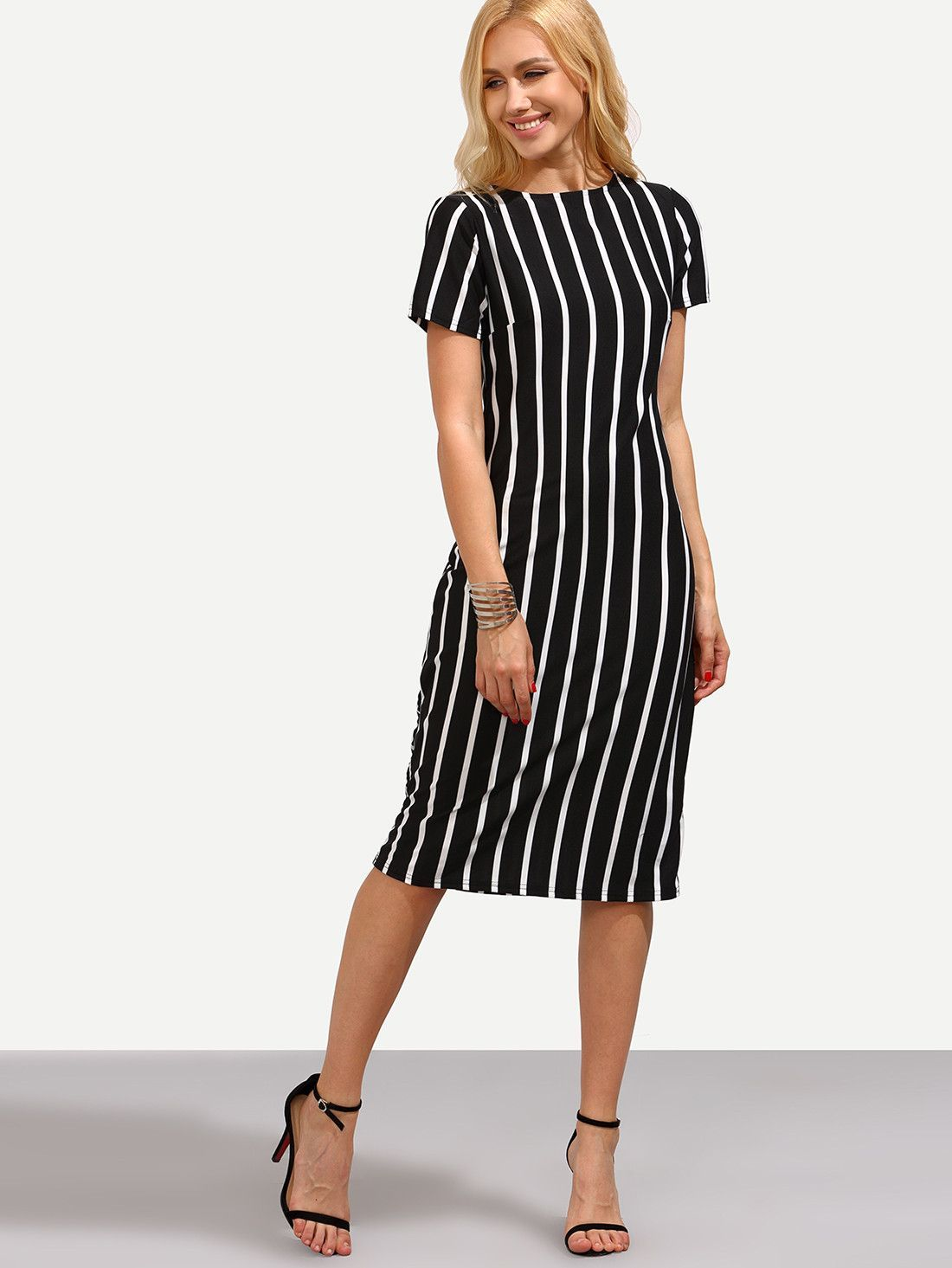 87d89bfec4a5 Fabric: Fabric is very stretchy Season: Summer Type: Pencil Pattern Type:  Striped Sleeve Length: Short Sleeve Color: Black Dresses Length: Midi  Style: Work ...