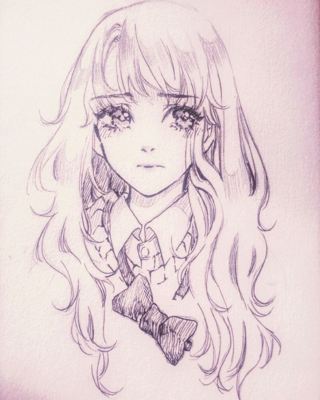 She Has Really Fluffy Open Waved Hair I Do Hope That This Kind Of Hairstyle Fits Me But Nahh Drawing Nhật Ky Nghệ Thuật Mỹ Thuật