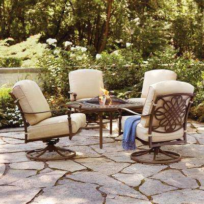 Cavo 5 Piece Aluminum Patio Fire Pit Conversation Set With Oatmeal Cushions