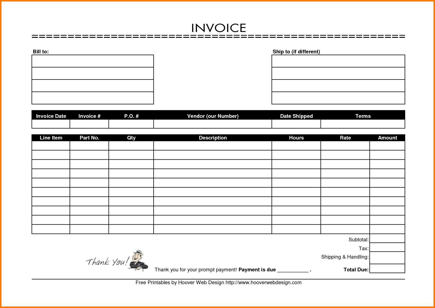 Printable Invoice Template Receipt Templates Free  Hsbcu