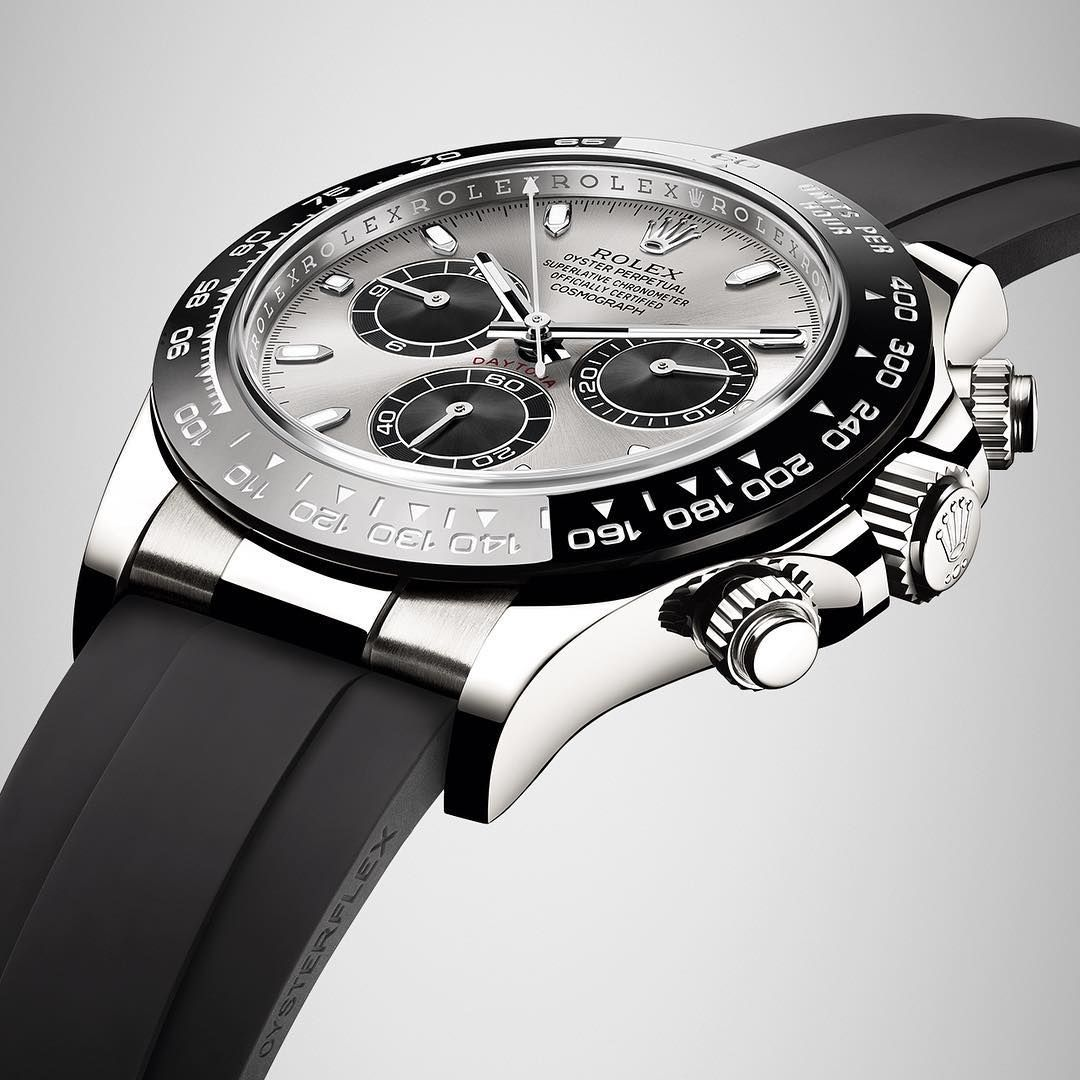 "d41ef0df36f ""The new Rolex Cosmograph Daytona in 18ct white gold with a black Cerachrom  bezel in ceramic.  Rolex…"""
