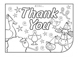free thank you card template for children farm animals to colour in color in