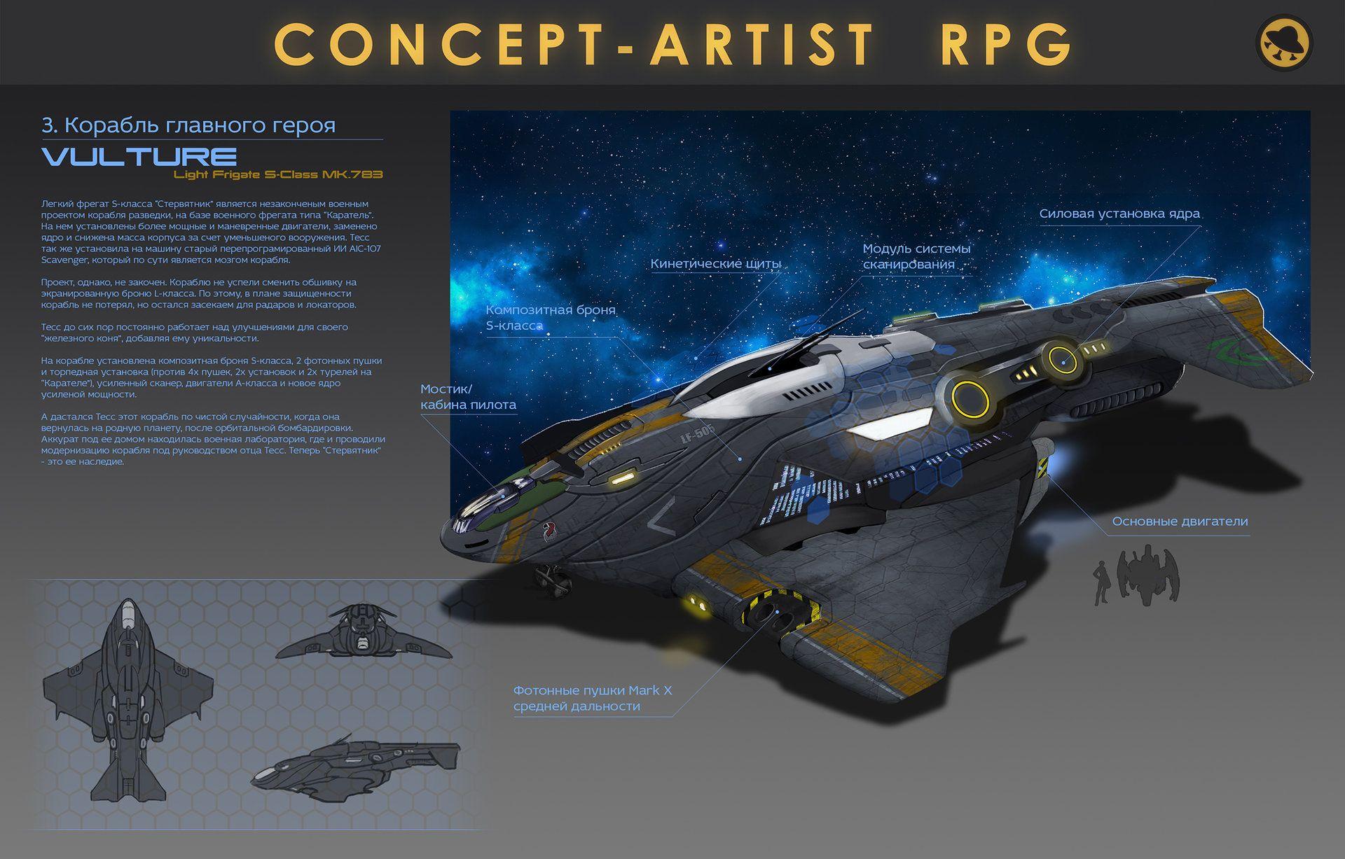 ArtStation - Light Frigate S-class VULTURE Concept, Ilia Borodin