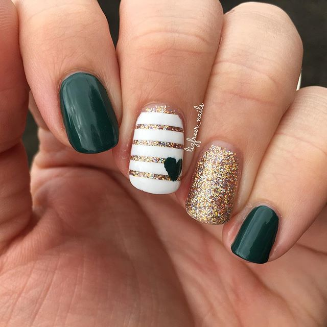 """Happy Fall y'all  For today's mani I used @opi_products """"stay off the lawn""""  @paintedpolishbylexi """"blinded by bubbly""""  All topped off with hk girl from @glistenandglow1 ▫️▫️▫️▫️▫️ #nail #nailart #nailporn #nailswag #naildesign #nailstagram #nailpolish #naildesigns #nails2inspire #nailsoftheday #nailsofig #nailartaddict #nailartjunkie #nailartwow #nailedit #nailie #glistenandglow #opi #fallnails"""