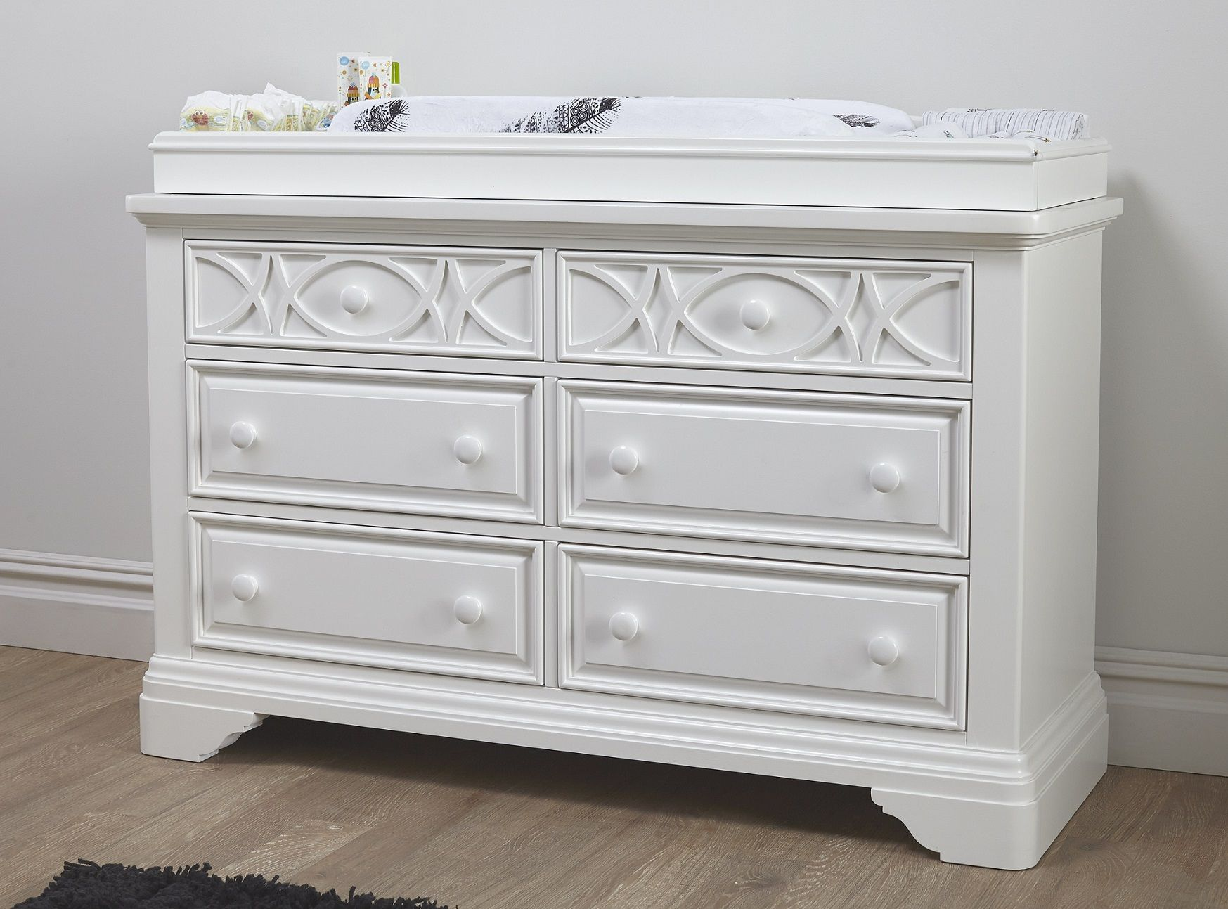 Baby Cache Haven Hill Double Dresser With Changing Topper In White