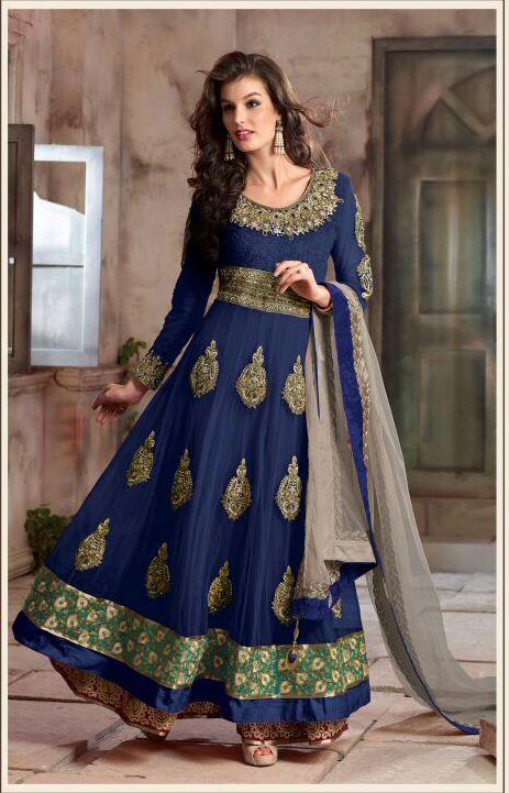 a6c4996740 Fashionable Blue Colored Georgette Anarkali Suit | Anarkali Suit ...