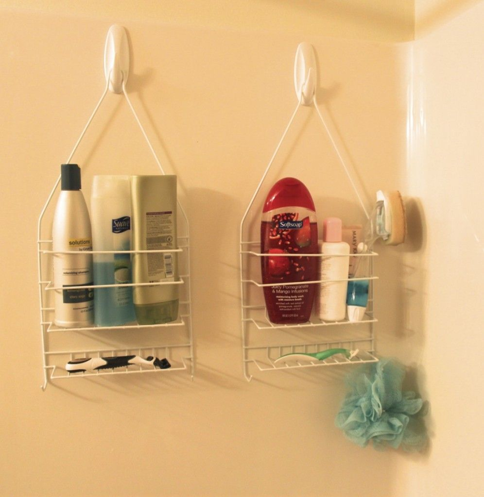 Shower caddies have a way of slipping off your showerhead's neck (and onto  your head  ouch!), so hang them more securely on the opposite wall. Make  sure to ...