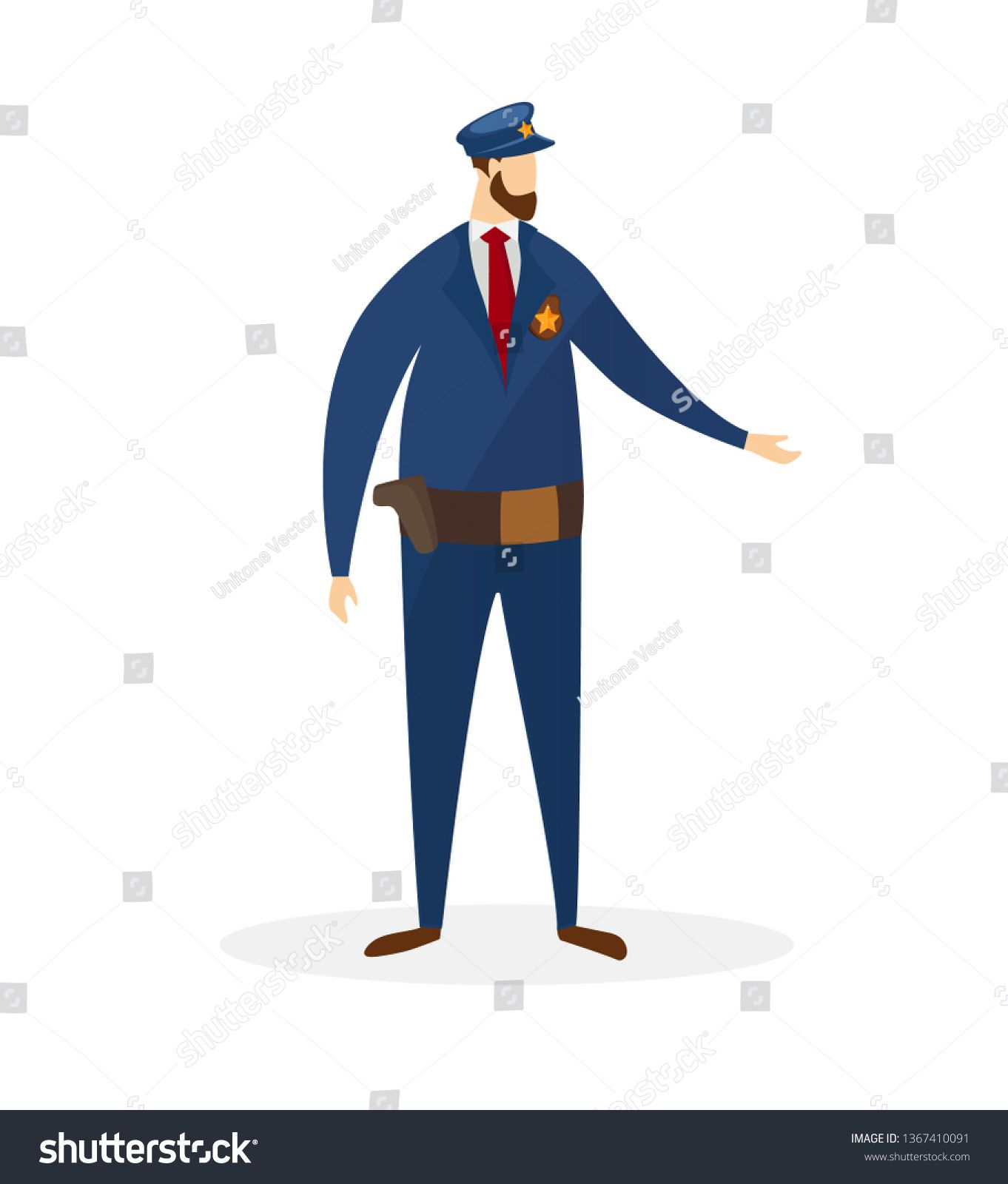 Full Height Police Officer In Uniform Isolated On White Background Policeman Cop Character Law Protection Car Police Officer Uniform Police Officer Police
