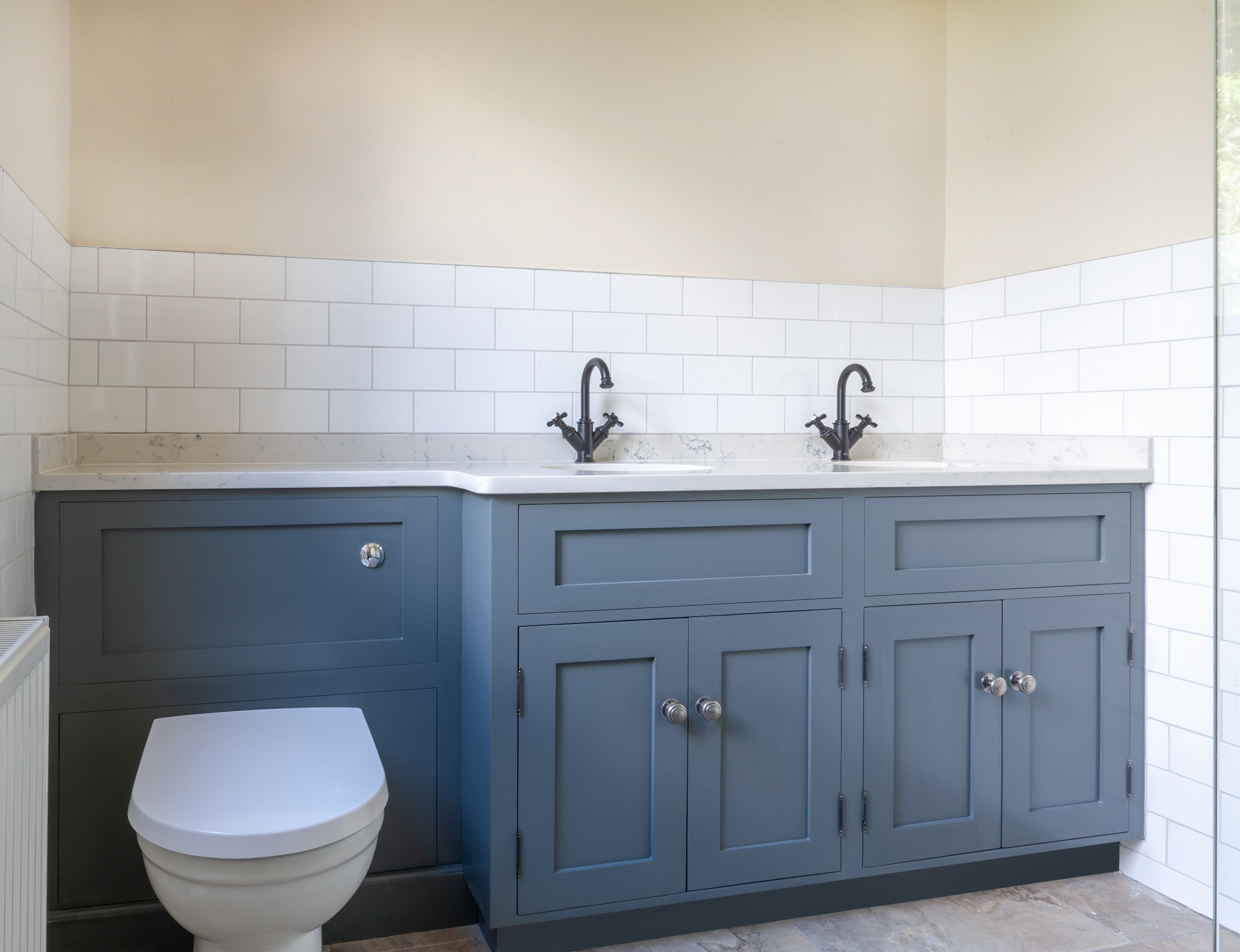 Bespoke Vanity Unit Featuring Back To Wall Toilet And Double Sinks With Marble Tops Sink Vanity Unit Back To Wall Toilets Toilet Vanity Unit