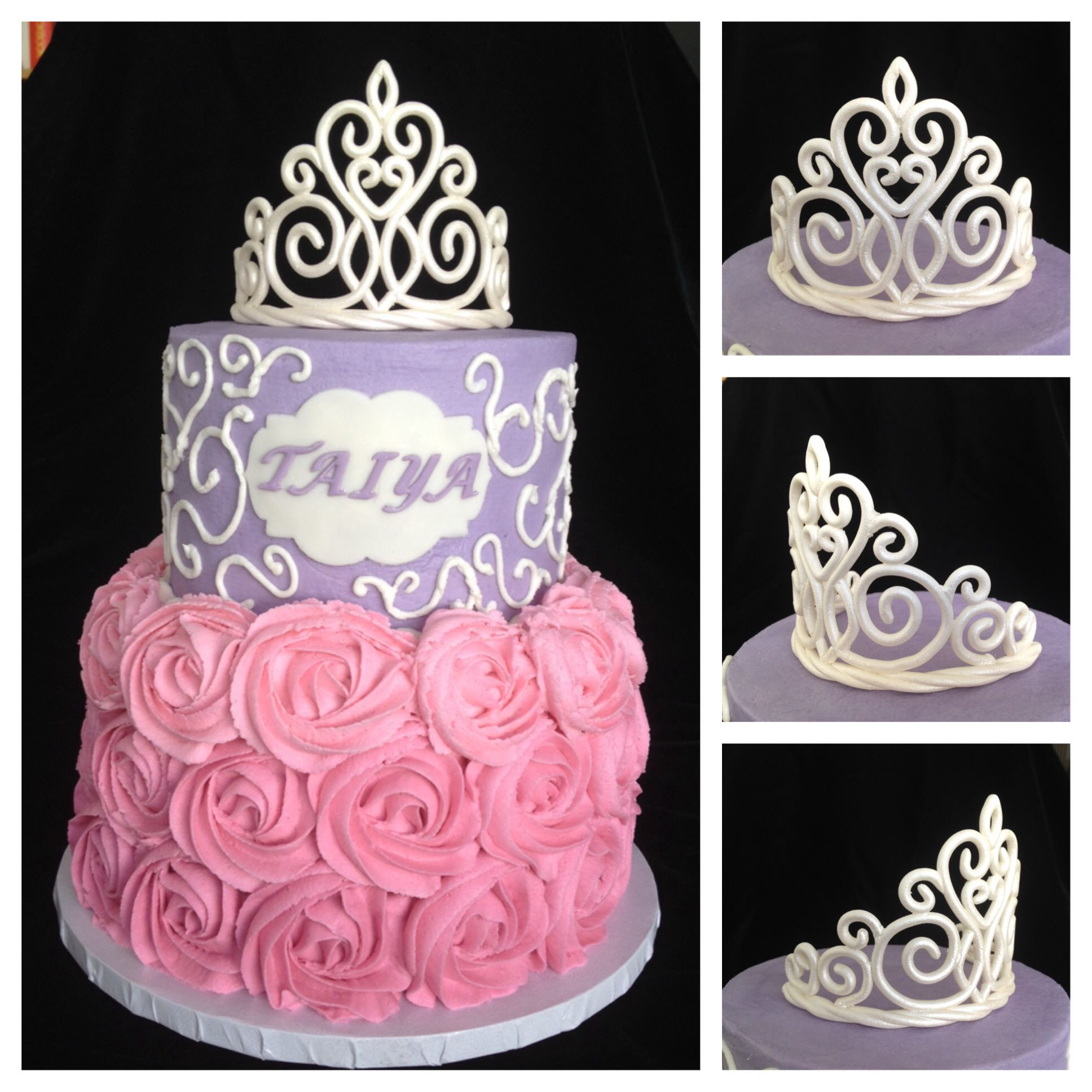 princess cake with tiara i tweaked a template from cake central